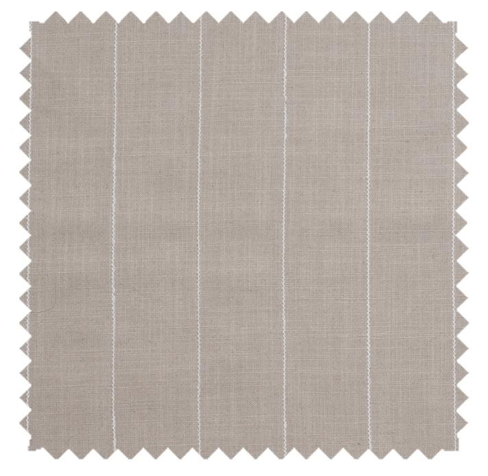 Pinstripe Gent / Corded Linen Blend - Flax / Bisque