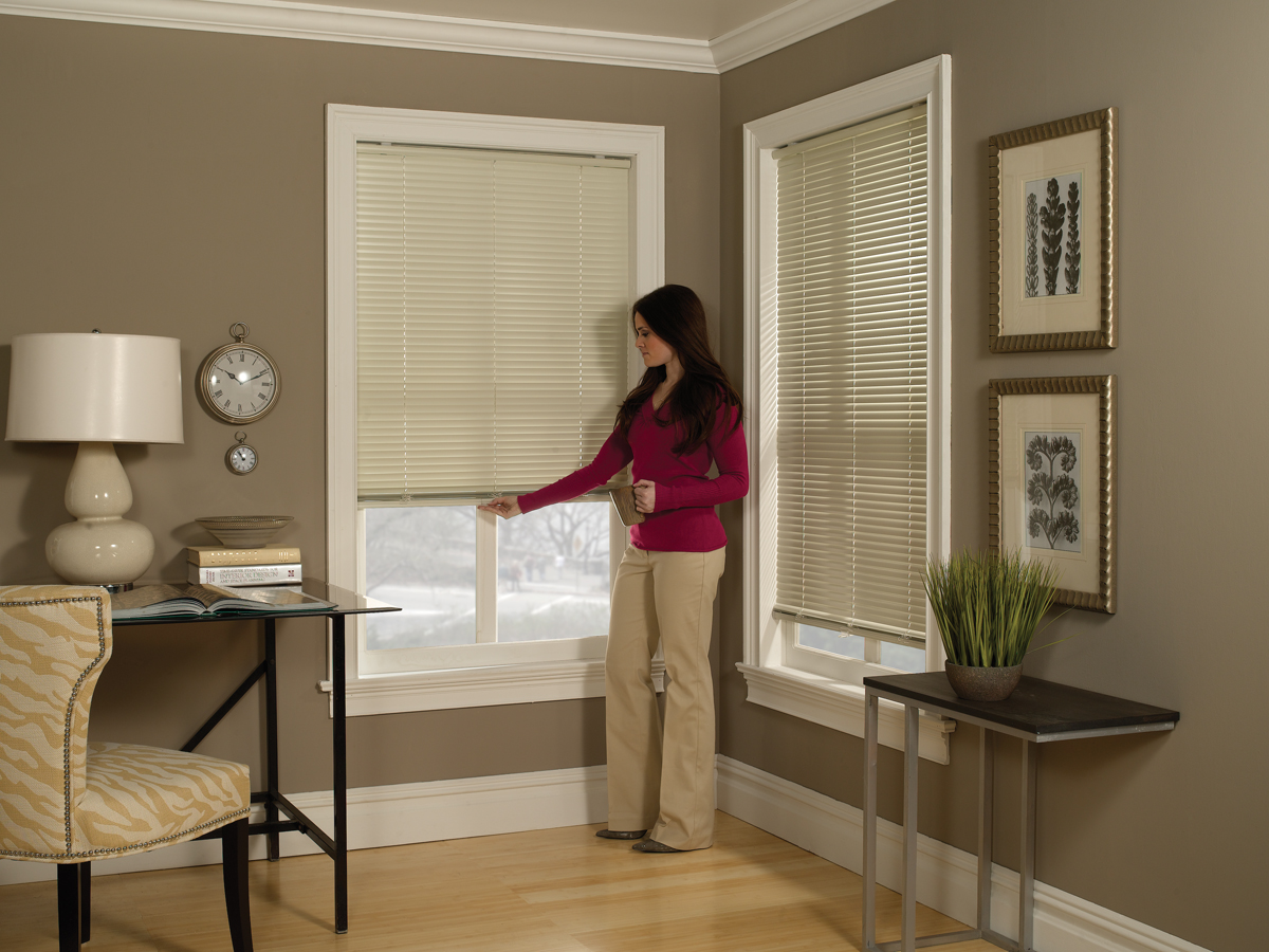 36 inch window blinds - 1 Cordless One Touch Aluminum Mini Blinds