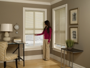 """1"""" Cordless One Touch Aluminum Mini Blinds"""